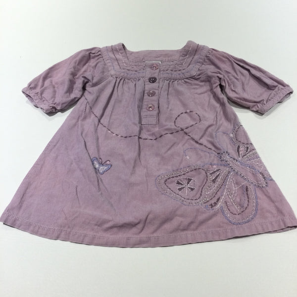 Embroidered Butterfly Lilac Lightweight Corduroy Dress with 3/4 Length Sleeves - Girls 18-24 Months