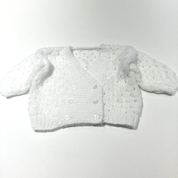 White Handknitted Cardigan - Girls 0-3 Months
