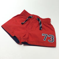 '73' Red & Navy Sports Style Shorts - Boys 3-6 Months
