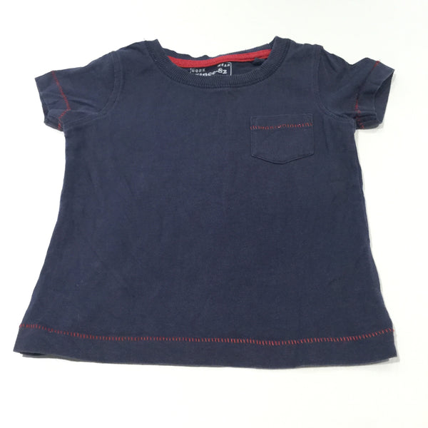 Navy & Red Stitching T-Shirt - Boys 3-6 Months