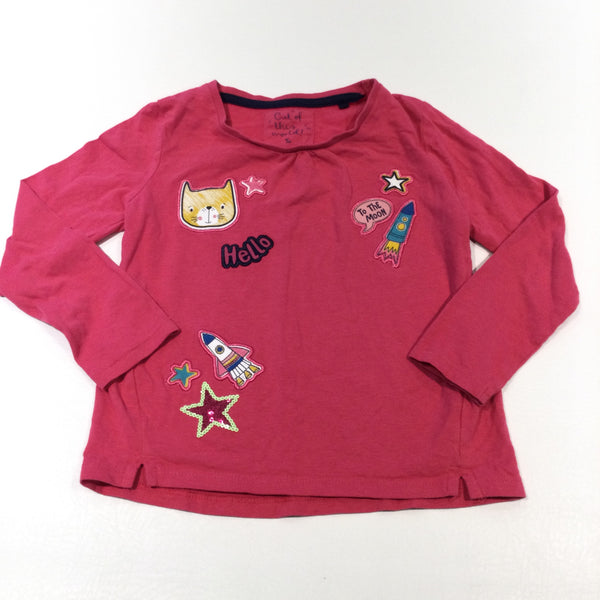 'Hello To The Moon' Cat & Rockets Appliqued Pink Long Sleeve Top - Girls 3-4 Years
