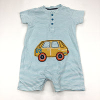Car Appliqued Yellow, Blue & White Jersey Romper - Boys 6-9m