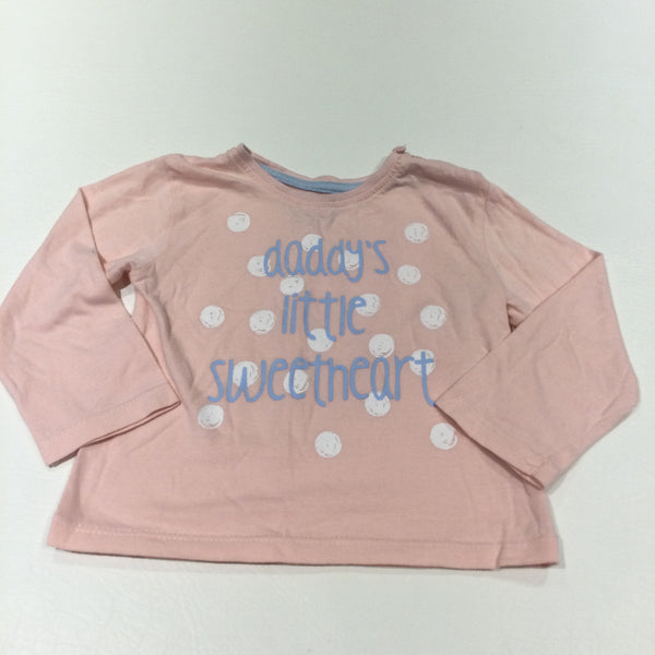 'Daddy's Little Sweetheart' Pink & White Spots Long Sleeve Top - Girls 9-12 Months