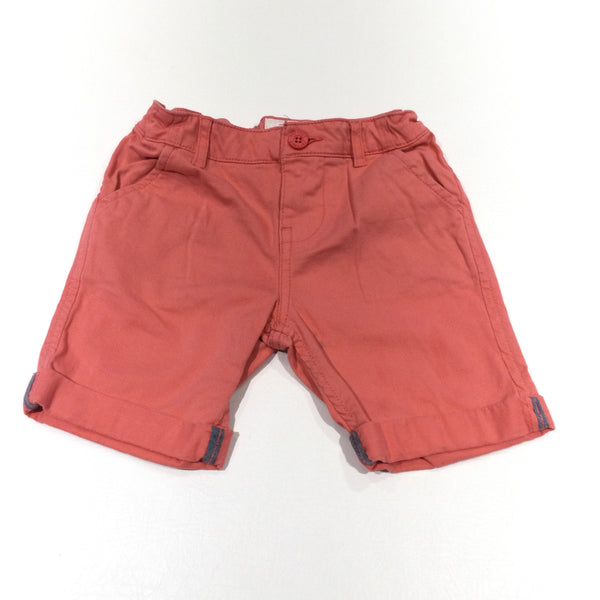 Salmon Pink Thick Cotton Shorts with Adjustable Waistband - Girls/Boys 6-7 Years