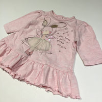 'She Loves To Dance, Sparkle & Shine' Ballerina Fairy Rabbit Pink Jersey Long Sleeve Dress - Girls Newborn - Up To 1 Month