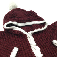 Burgundy & White Handknitted Hoodie Jumper with Oversized Hood & Bobble - Boys 6-9 Months