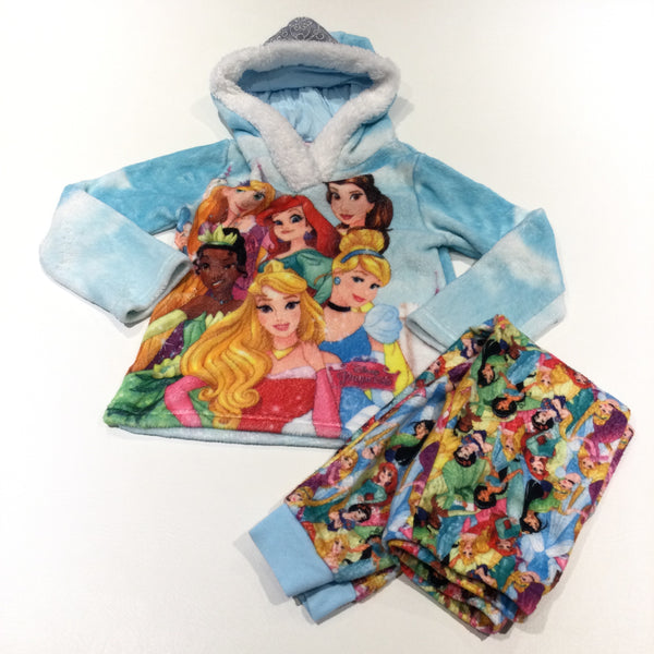 'Disney Princesses' Blue Fluffy Fleece Pyjamas with Hood - Girls 6-7 Years