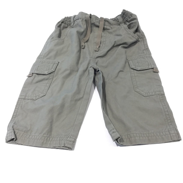Khaki Green Cotton Cargo Trousers - Boys 6-9 Months