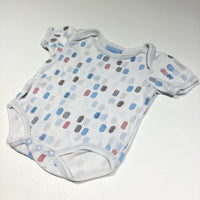 Anchors & Spots White Short Sleeve Bodysuit - Boys 0-3m