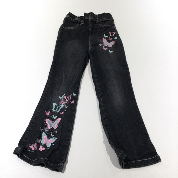 Butterflies Embroidered Black Denim Jeans - Girls 6 Years