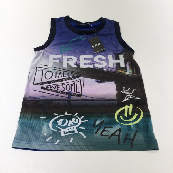 'Fresh Totally Awesome' Blue & Navy Vest Top - Boys 6-7 Years