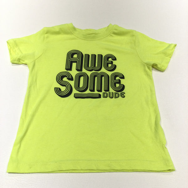 'Awesome Dude' Neon Yellow T-Shirt - Boys 5-6 Years