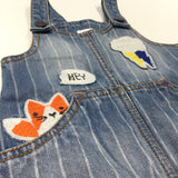 Rabbit & Fox Embroidered & Appliqued Mid Blue Denim Dungaree Dress - Girls 6-9 Months