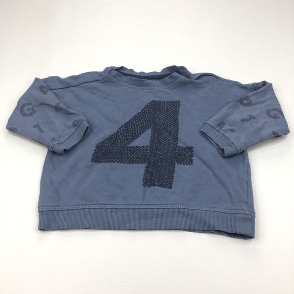'4' Numbers & Letters Blue Lightweight Sweatshirt - Boys 9-12m