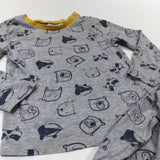 Raccoons, Badgers & Bears Grey & Yellow Pyjamas - Boys 5-6 Years