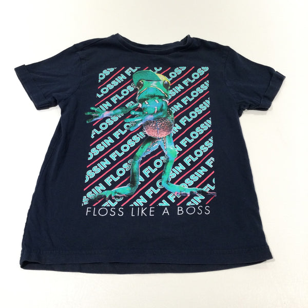 'Floss Like A Boss' Glittery Frog Navy T-Shirt - Boys/Girls 5-6 Years