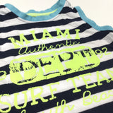 'Miami Authentic Department Surf Team' Navy & White Striped Vest Top - Boys 9-12 Months