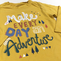 'Make Every Day An Adventure' Mustard Yellow Long Sleeve Top - Boys 5-6 Years