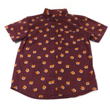 Foxes Burgundy Cotton Shirt - Boys 5-6 Years
