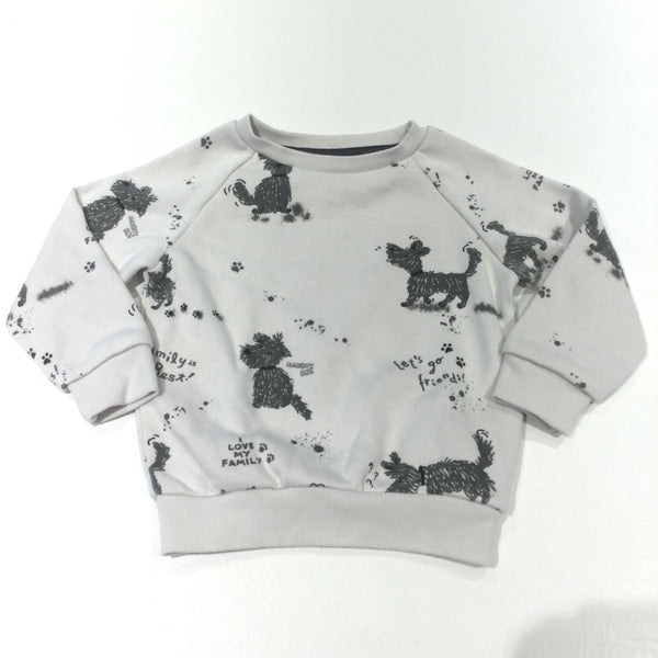 'I Love My Family' Dogs Grey & White Sweatshirt - Girls/Boys 12-18 Months