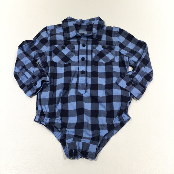 Blue & Navy Checked Cotton Shirt Style Long Sleeve Bodysuit - Boys 18-24 Months