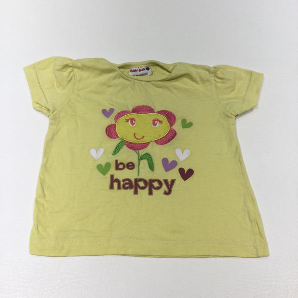 'Be Happy' Flower Embroidered Yellow T-Shirt - Girls 12-18 Months