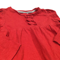 Bows Red Long Sleeve Top - Girls 9-12 Months