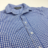 Blue Gingham Cotton Short Sleeve Shirt - Boys 18-24m