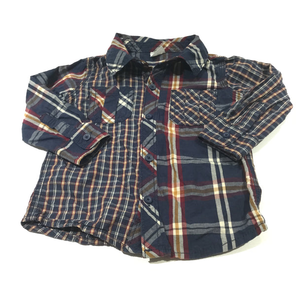 Navy, Burgundy, Mustard Yellow & Cream Checked Long Sleeve Cotton Shirt - Boys 9-12 Months