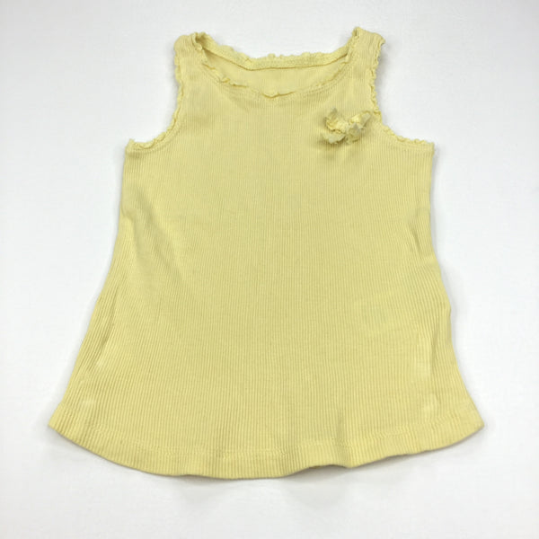Yellow Ribbed Vest Top with Bow - Girls 18-24m
