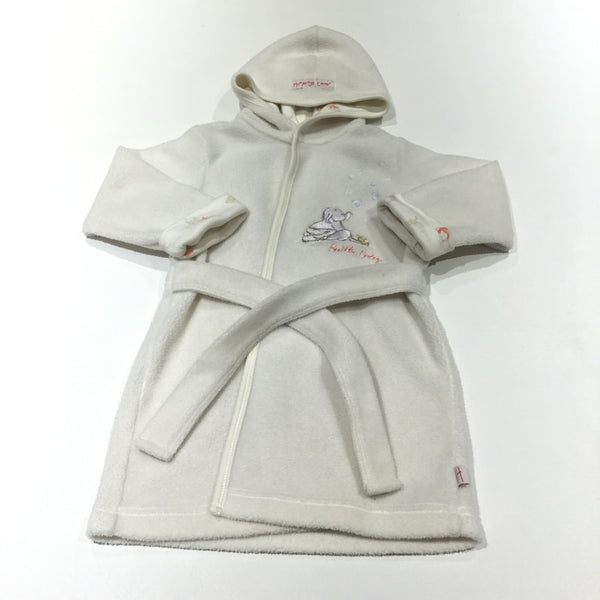 'Bubble Baby' Humphrey's Corner Cream Fleece Dressing Gown with Hood & Attached Belt - Girls/Boys 9-12 Months