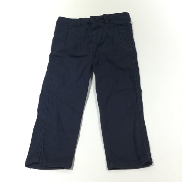 Textured Navy Cotton Trousers with Adjustable Waistband - Boys 18-24 Months