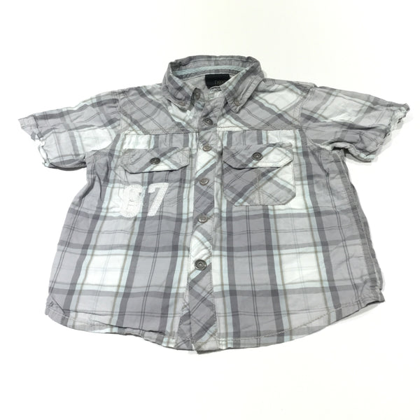 '67' Grey, White & Blue Checked Cotton Shirt - Boys 18-24 Months