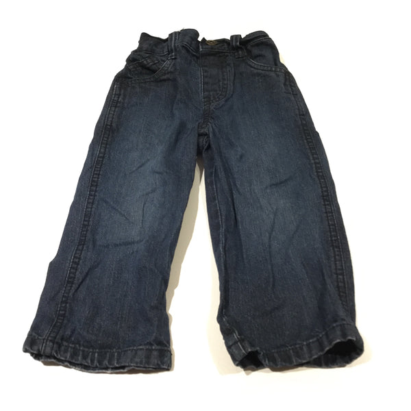 Dark Blue Denim Jeans with Adjustable Waistband - Boys 18-24 Months