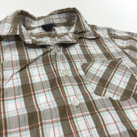 Brown, White & Orange Checked Cotton Shirt - Boys 18-24 Months