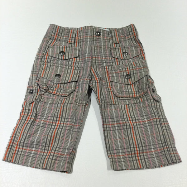 Orange, Beige, Pink & Grey Checked Cotton Cargo Trousers - Boys/Girls 3-6 Months