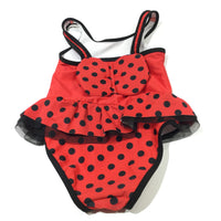 Ladybird Face & Wings Red & Black Swimming Costume - Girls 18-24 Months