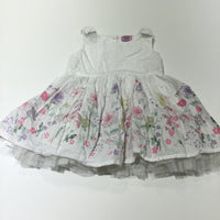 Pastel Flowers White Cotton Party Dress - Girls 18-24 Months