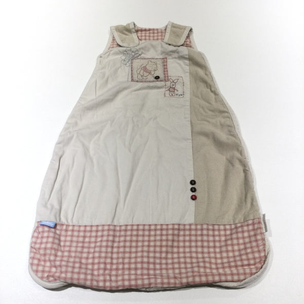 Winnie The Pooh & Piglet Beige & Light Red Textured Sleeping Bag - 2.5 Tog - Girls/Boys 0-6 Months