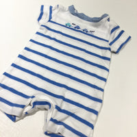 'Beep Beep' Cars Embroidered Blue & White Jersey Romper - Boys Newborn