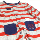 'Sleepy Little One' Bear Red & Grey Striped Babygrow with Integrated Mitts - Boys 0-3m