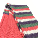 Coral Pink, Purple, Green & White Striped Knitted Scarf - Girls 7-8 Years
