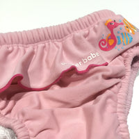 Fishes Pink Swim Nappy - Girls-3-6m