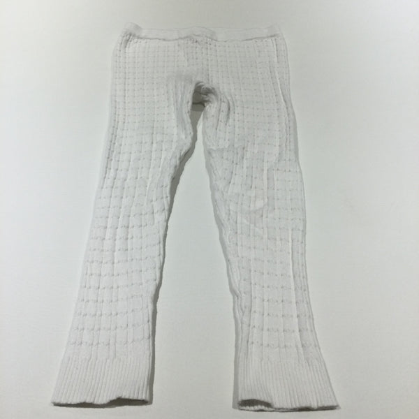 White Cable Knit Leggings - Girls 7-8 Years