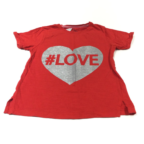 '#Love' Glittery Heart Silver & Red T-Shirt - Girls 8 Years
