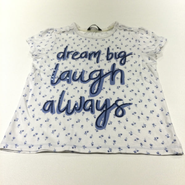 'Dream Big, Launch Always' Sequins & Flowers White T-Shirt - Girls 7-8 Years