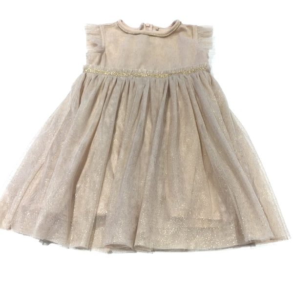 Peach Jersey Party Dress with Gold Sparkly Net Overlay - Girls 4-5 Years