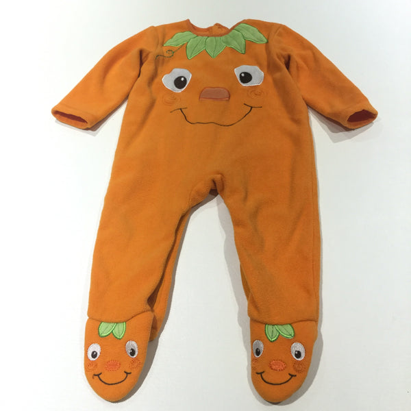 Pumpkin Orange Fleece Pramsuit -  Boys 9-12 Months - Halloween