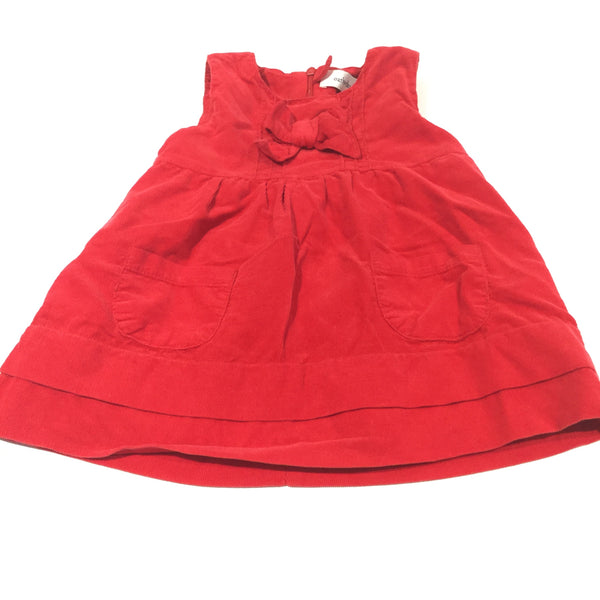 Red Corduroy Pinafore Dress - Girls 6-9 Months