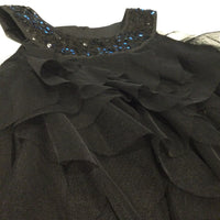 Sequins Black Party Dress with Layered Net Overlays  - Girls 5-6 Years